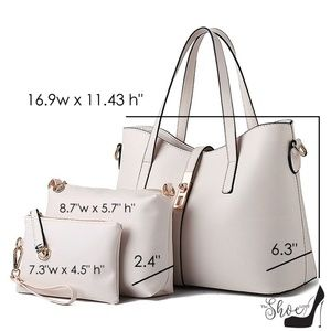 My Bag Lady Online Bags - Taupe Travel Work Lunch Satchel Handbag Tote Set